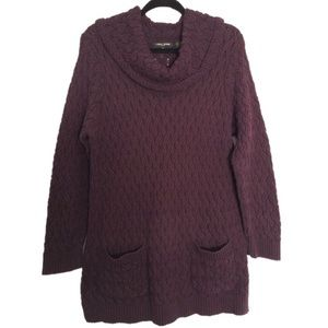 Jeanne Pierre Deep Purple Cowl Neck Sweater
